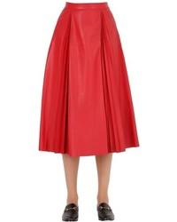 Gucci Pleated Leather Midi Skirt