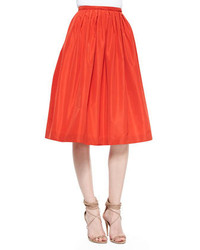 Burberry London Pleated Taffeta Full Skirt Orange Red