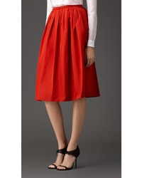 Burberry Pleated Cotton Blend Skirt