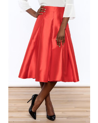 Ark & Co Red Pleated Midi Skirt