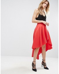 Asos Scuba Midi Prom Skirt With Asymmetric High Low Hem