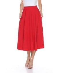 White Mark Solid Midi Skirt