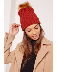 Missguided Orange Contrast Faux Fur Pom Pom Beanie