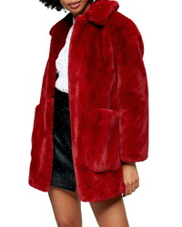 Topshop Eddie Faux Fur Coat
