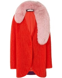 Klen Red Mohair Circle Oversize Coat