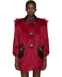 Red faux fur and leather shag coat medium 964120
