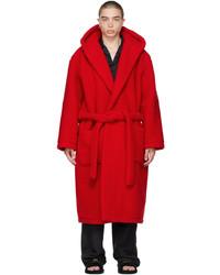 Balenciaga Red Hooded Bath Robe Coat