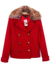 ChicNova Double Breasted Fur Collar Woolen Coat