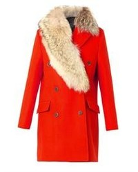 MSGM Fur Collar Double Breasted Coat
