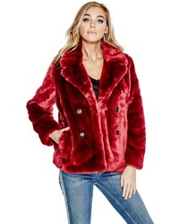 GUESS Jill Faux Fur Embroidered Jacket