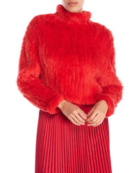 Elizabeth and James Mock Neck Rabbit Fur Sweater