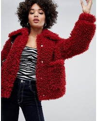 Missguided Shaggy Borg Jacket In Red