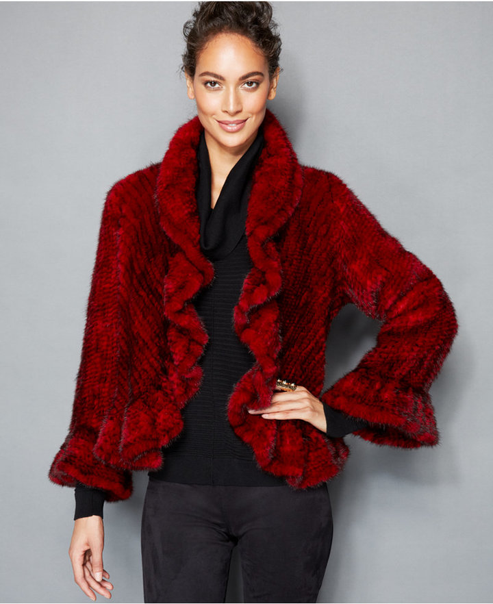 The Fur Vault Ruffle Edge Knitted Mink Fur Jacket | Where to buy ...