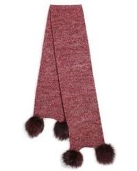 Portolano Fox Fur Pom Pom Cashmere Scarf