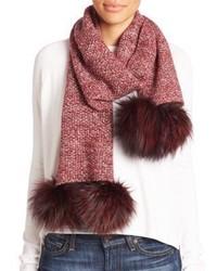 Fox fur pom pom cashmere scarf medium 804459