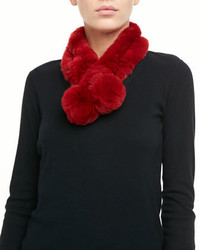 Belle Fare Rabbit Fur Neck Warmer Red
