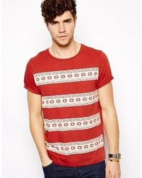 Asos stripe t shirt with geo tribal pattern and roll sleeve medium 36561