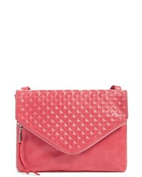 Red Geometric Leather Crossbody Bag