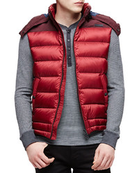 Burberry Brit Fitzroy Lightweight Puffer Vest With Hood Red