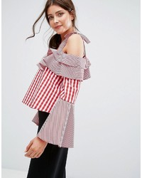 Boohoo Mixed Gingham Tie Shoulder Top