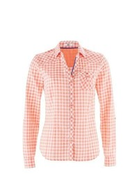 Bpc bonprix collection effortlessly easy cotton shirt in salmonwhite gingham size 22 medium 842711