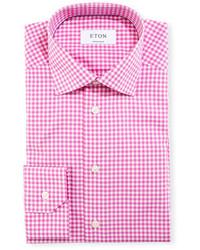 Eton Contemporary Fit Gingham Dress Shirt Raspberrywhite