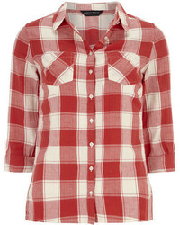 Dorothy Perkins Red And Ivory Check Shirt