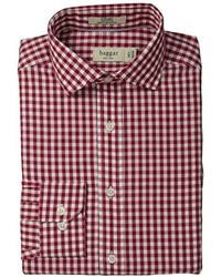 Haggar Gingham Fancy Poplin Long Sleeve Fitted Shirt
