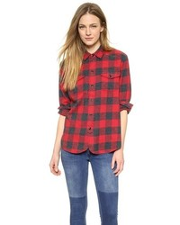 Heritage cargo buffalo check flannel shirt medium 120805