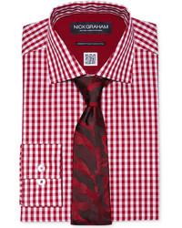 Nick Graham Red Gingham Dress Shirt Tie Set