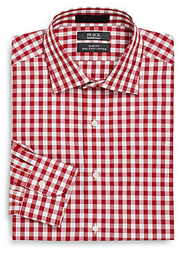 Saks fifth avenue black slim fit gingham two ply cotton for 2 ply cotton dress shirt