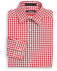 Saks Fifth Avenue Trim Fit Gingham Check Dress Shirt