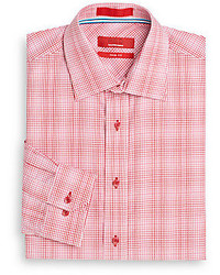 Saks Fifth Avenue RED Trim Fit Gingham Dress Shirt