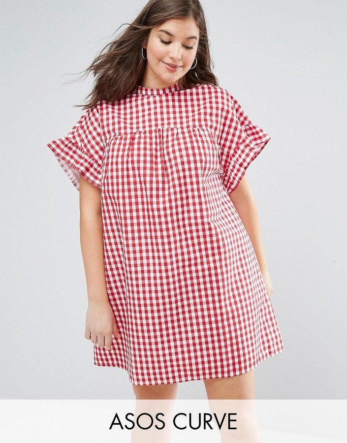 Asos Curve Curve Red Gingham Smock Dress | Where to buy & how to wear