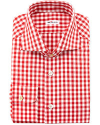 Large gingham dress shirt red medium 21759