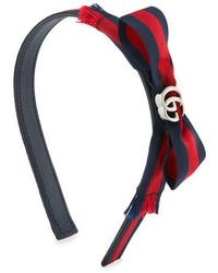 Gucci Leather Bow Headband Navyred