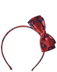 Oscar de la Renta Navy And Red Floral Bow Headband