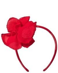 Il Gufo Red Frayed Flower Corsage Headband