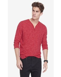 Express 34 Sleeve Space Dyed Henley Tee