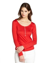 Loro Piana Red Cotton Knit Partial Button Front Top