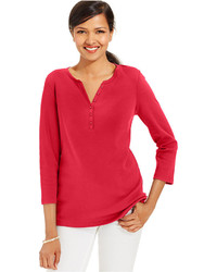 Karen Scott Split Neck Three Quarter Sleeve Henley
