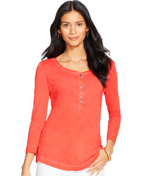 Lauren Ralph Lauren Three Quarter Sleeve Henley Top