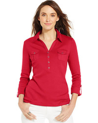 Karen Scott Three Quarter Sleeve Roll Tab Polo Shirt
