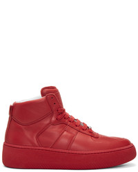 Maison Margiela Red Chunky Sole High Top Sneakers