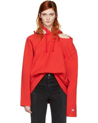 Vetements Red Champion Edition Open Shoulder Hoodie