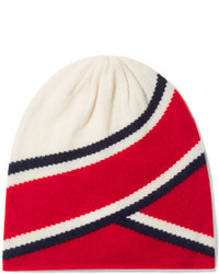 Anastasia striped cashmere beanie red medium 5219901