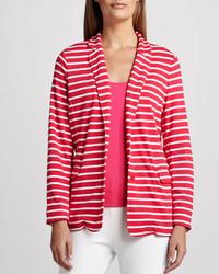 Joan Vass Striped Knit Jacket Petite