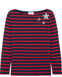 Saint Laurent Embellished Striped Cotton Jersey Top Red