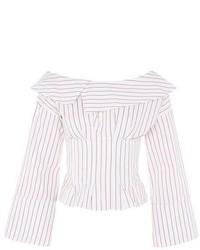 Topshop Stripe Corset Bardot Top