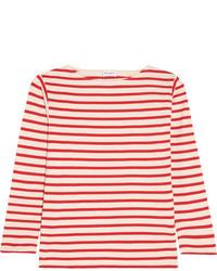 Saint Laurent Striped Cotton Jersey Top Red